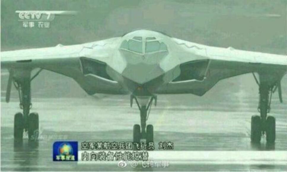 <b>PROTOTYPE:</b> Den kinesiske TV-kanalen CCTV viste dette bildet i slutten av 2017. Analytikere tror det kan være en prototyp på bombeflyet H-20.