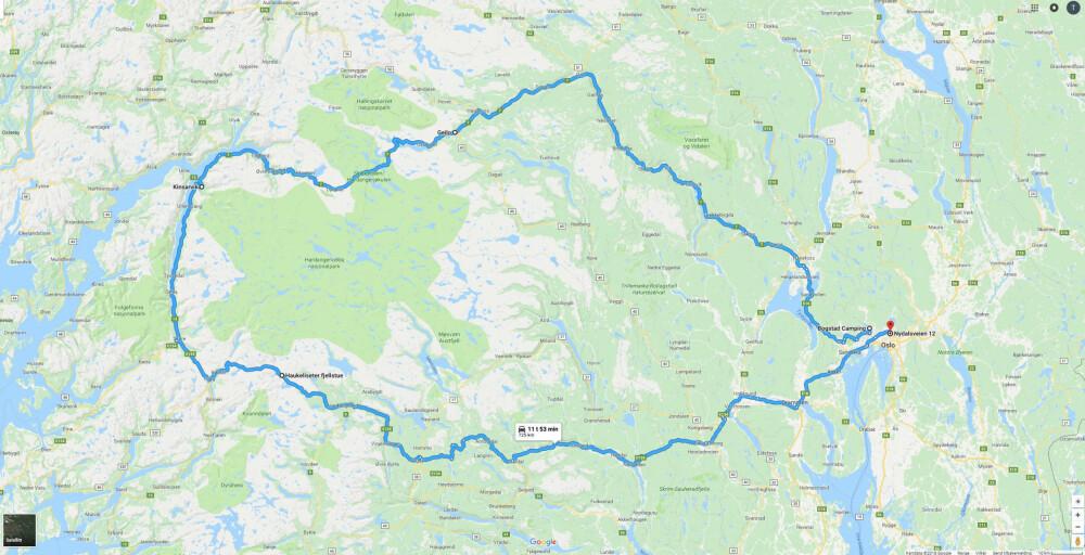 MYE LADING: Tur-retur Oslo-vestlandet ble det ladet på Flå, Hol, Kinsarvik, Haukeliseter fjellstue, Seljord, Kongsberg og Oslo.