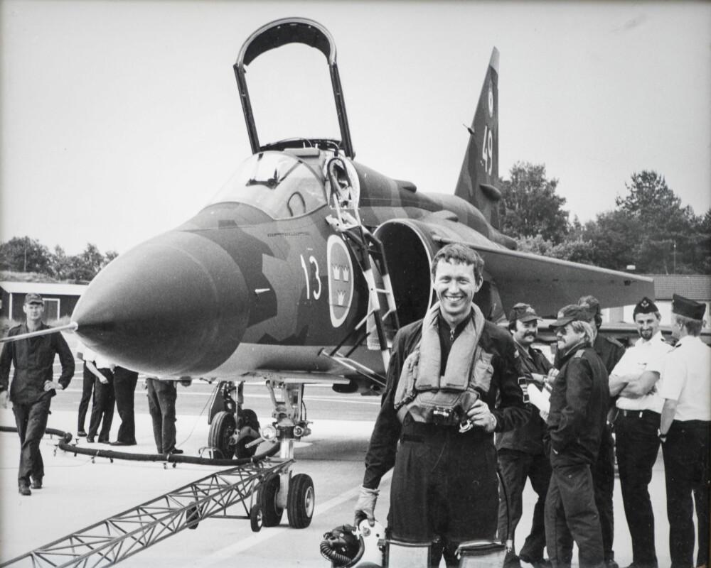 TESTPILOT: Per-Olof Eldh mens han var testpilot på Jaktviggen. Det var under et utprøvingstokt at han fikk nærkontakt med SR-71 for første gang.