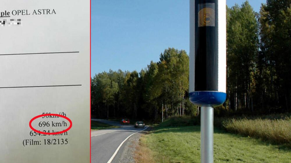 FEIL ... Hvis du får en bot i posten som viser at du har kjørt i 696 km/t i en 50-sone, er det vel all mulig grunn til å anta at lappen ryker – eller at det har skjedd en feil.