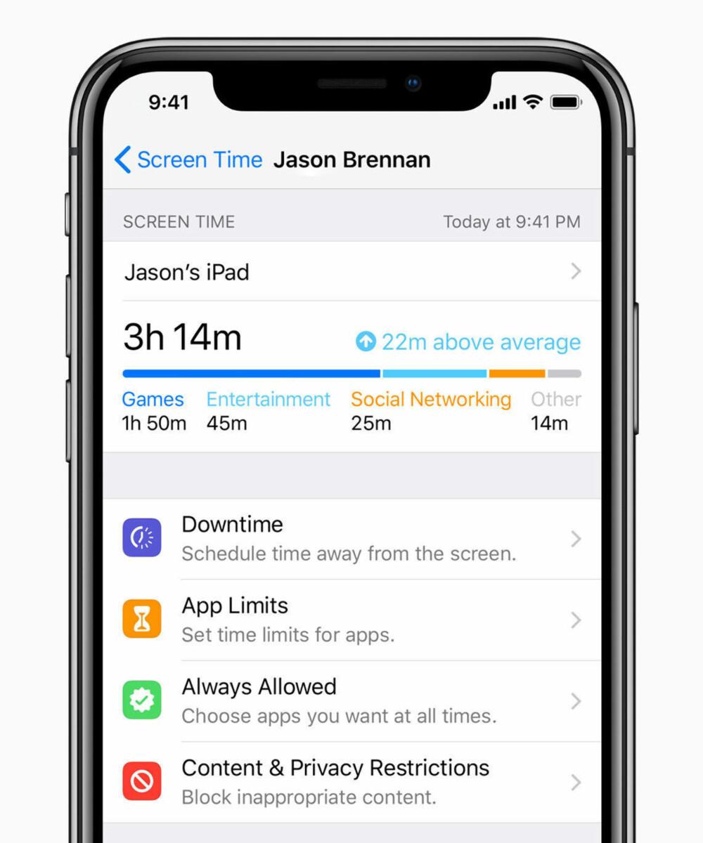 SCREEN TIME: En ny funksjon i iOS 12 som slippes til iPhone og iPad høsten 2018 lar brukerne overvåke tidsbruken på mobilen og nettbrettet.