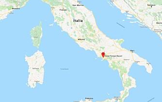 KART: Pompeii ligger på den italienske vestkysten, om lag 2,5 timers kjøretur sør for Roma.
