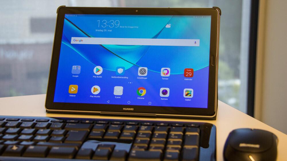 HUAWEI MEDIAPAD M5: Huaweis nye nettbrett er både billig og bra. Rosinen i pølsa er nettbrettet kan kjøres i «skrivebordsmodus» som gjør at du kan bruke nettbrettet som en PC med ekstern mus og tastatur.