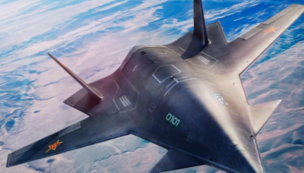 <b>DARK SWORD:</b> Dette er en konseptskisse av Kinas ubemannede fly Dark Sword. Flyet sies å kunne være verdens første 6. generasjons kampfly.