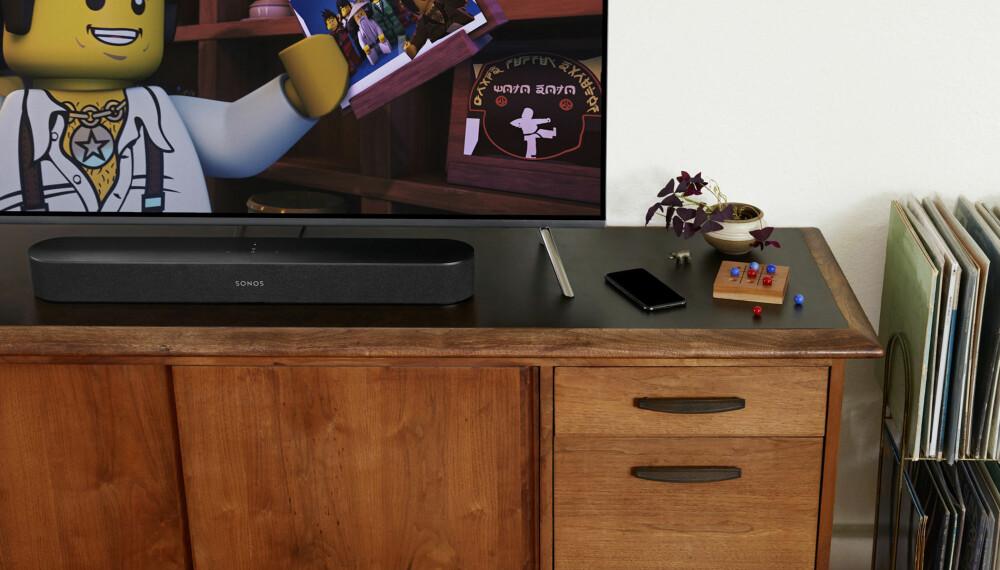 <b>USYNLIG: </b>Med riktig TV og riktige farger, så blir Sonos Beam nesten usynlig.