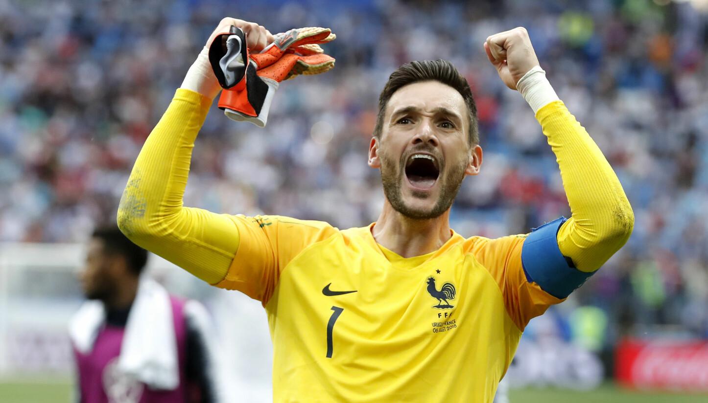 <b>FOTBALL-VM 2018:</b> Frankrikes målvakt Hugo Lloris feirer etter kvartfinalen mot Uruguay. Frankrike slo Uruguay 2-0.
