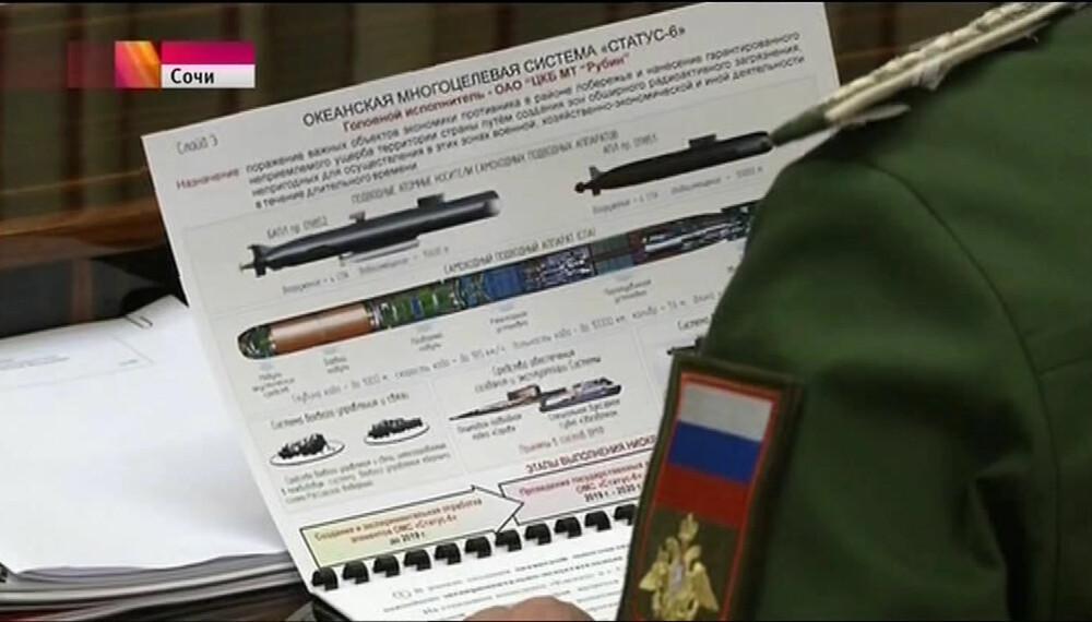 <b>LEKKASJE:</b> Stillbilde fra TV-sendingen til den russiske statskanalen der plansjen over masseødeleggelsesvåpenet ble kompromittert.