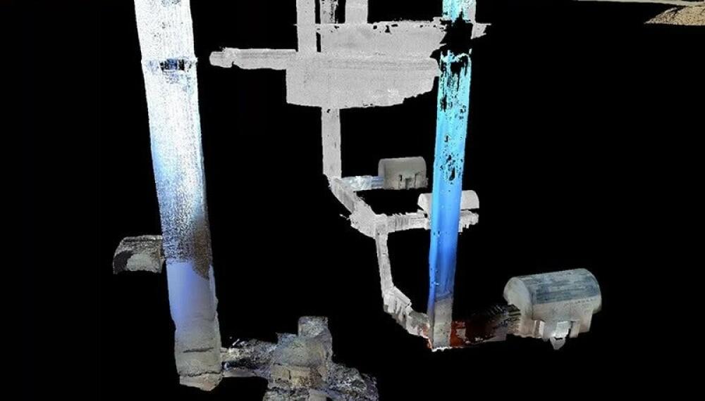 <b>3D-ILLUSTRASJON:</b> Slik ser sjaktgravene i det underjordiske begravelsesystemet ut. Illustrasjonen er laget av Universitetet i Tübingen ved hjelp av laserscannere i 3D
