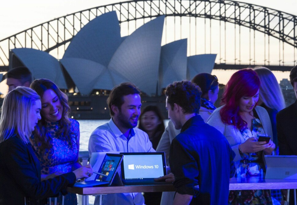 <b>SKJULTE TRIKS:</b> Microsoft 10 har flere funksjoner mange ikke er klar over. Her fra et pressetreff i Sydney, Australia.