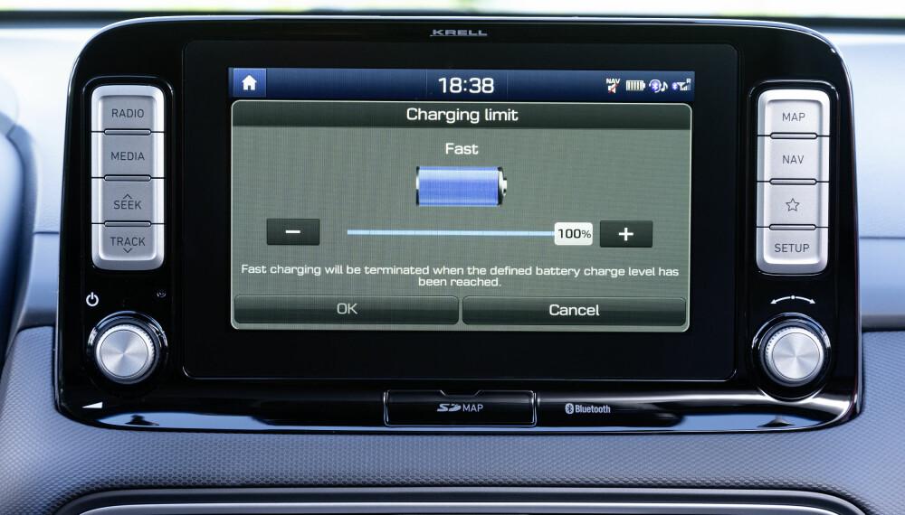 <b>VALG:</b> Kona Electric lar deg velge hvor mye du skal lade batteriet ved hurtig - og normallading.