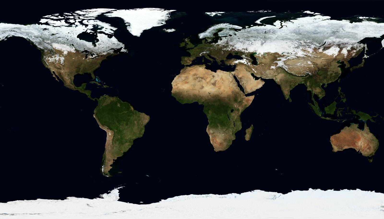 <b>HVOR MANGE LAND ER DET I VERDEN?: </b>NASA har satt sammen dette verdenskartet basert på satellittbilder. Hvor mange land som er avbildet her, er en evig diskusjon.