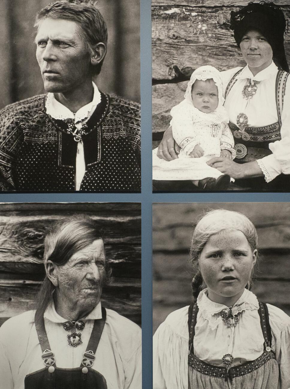 <b>LANGSKALLER:</b> Valle i Setesdal ble ansett som et kjerneområde for den langskallede nordiske rasen. På bildet ser vi Torleiv Bjugsson Aakre (1880–1972), Birgit Eivindsdatter Brottveit (f. Brokka) (1900–1989), Ånund Drengsson Rike (1843–1928) og Jorånd Olsdatter Harstad (f. Haugen) (1913–1993).