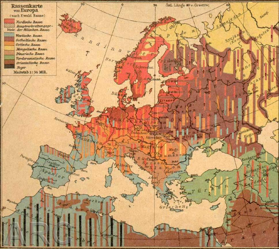 <b>RASER I EUROPA:</b> Den tyske raseideologen Hans Günthers rasekart for Europa fra 1922, viser hvor han mente den nordiske rasen holdt til (rødt).