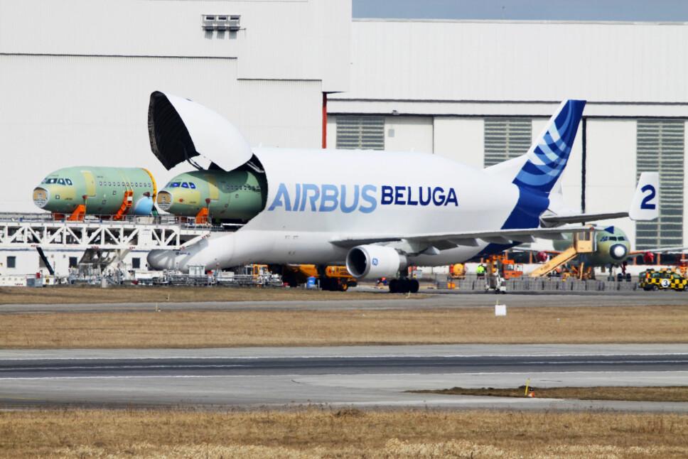 <b>SLUKER FLY:</b> Det er enorme dimensjoner på standard-Belugaen også. Her laster den to neseseksjoner til Airbus fly