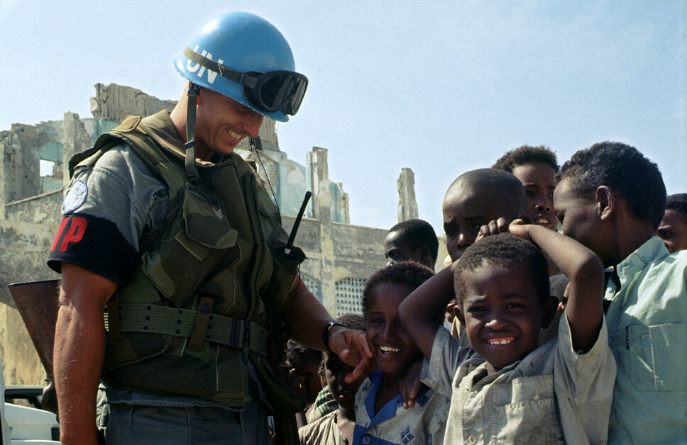 <b>SOMALIA:</b> Mogadishu julen 1992. Bildet viser Steinar Reisæter Andersen, 1. kontingent UNOSOM.