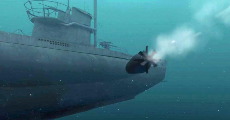 Den siste torpedoen treffer.