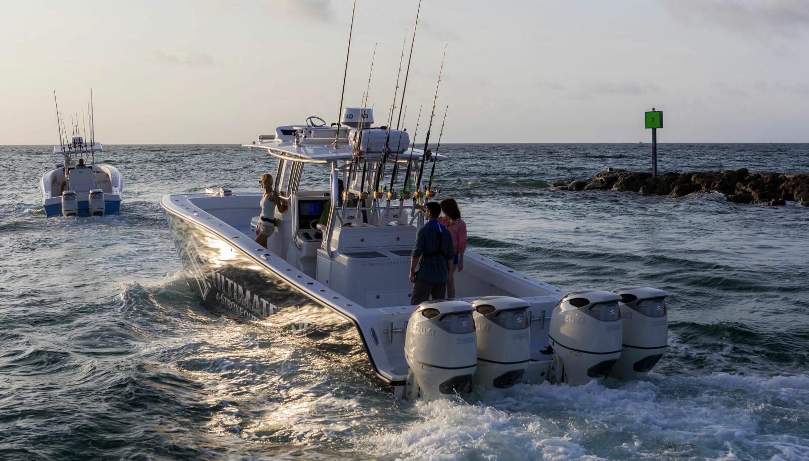 <b>SÅPASS MÅ DET VÆRE: </b>37-fots katamaran med fire motorer gir pondus, selv i amerikansk båtliv.