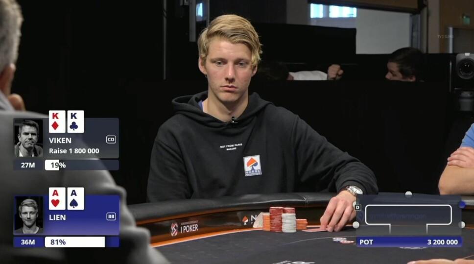<b>SJELDEN VARE: </b>AA mot KK er ikke vanlig kost rundt et pokerbord. Det skjedde allikevel på finalebordet under NM i Stokke.