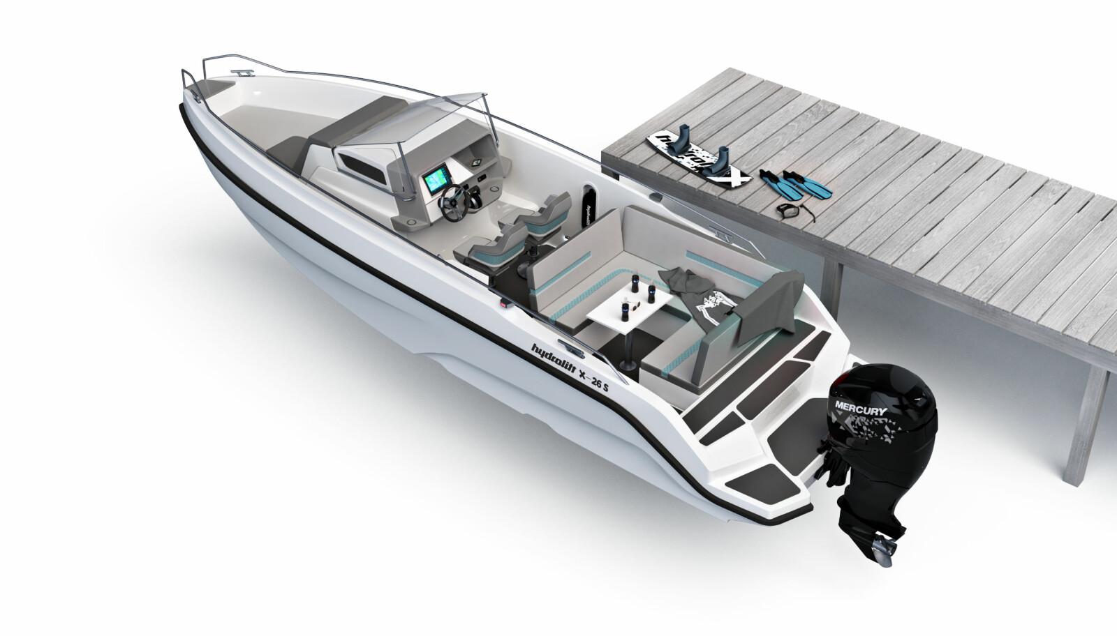 SOSIAL: Hydrolift X-26 S er bygget som en sosial og åpen båt med høye fribord.
