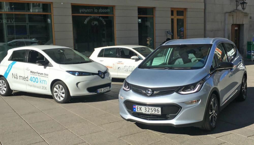Tre av de mest solgte elbilene i Norge samlet: Renault Zoe, VW Golf og Opel Ampera-e. Særlig sistnevnte har hatt lange ventelister, her er det også en del import fra USA.