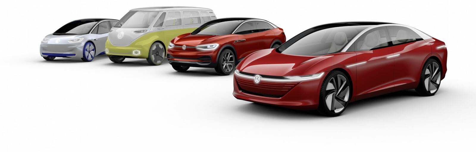 <b>KOMMENDE ELBILER:</b> Her er alle elbilene Volkswagen har annonsert så langt. Fra venstre: ID Neo, ID Buzz, ID Cross og ID Vizzion.