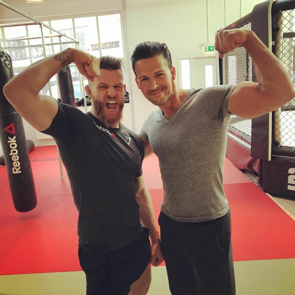 <b>GODE RÅD:</b> Også Emil Meek og Cornelis Elander var nybegynnere på treningsstudioet en gang. Elander har et råd til deg som vil begynne å trene.