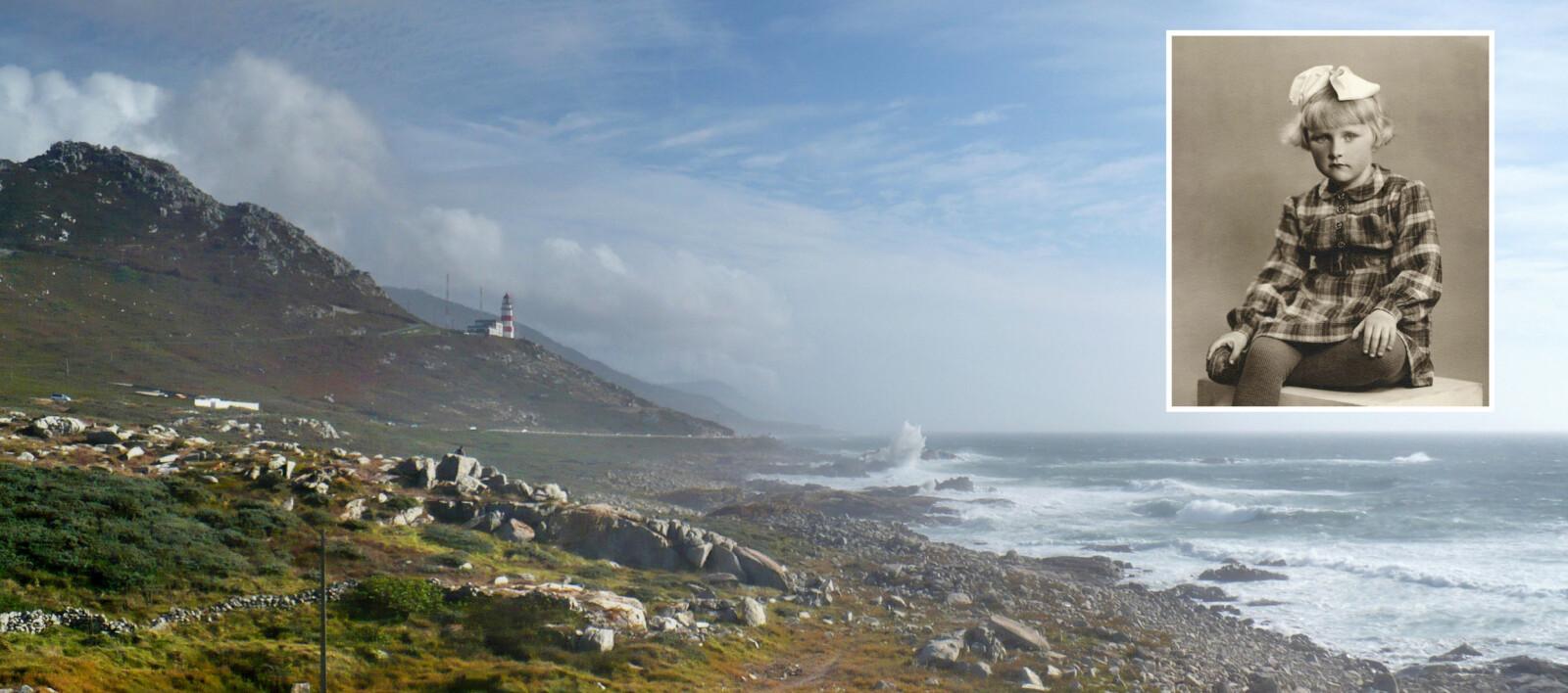 <b>SKJEBNEHAVET:</b> Her, ved de værbitte knausene på Cabo Silleiro utenfor Vigo, gikk «Thalassa» på grunn i et voldsomt uvær nyttårsaften 1948. En teori er at mannskapet ble lurt av lysene på det nye fyret, som sees på bildet, dersom de brukte kart som ikke var oppdaterte. Det gamle fyret lå lenger ned mot sjøen. <b>INNFELT:</b> Arnhild Karlsen kikker ettertenksomt mot fotografen hjemme i Norge en tid før reisen mot Galapagos.