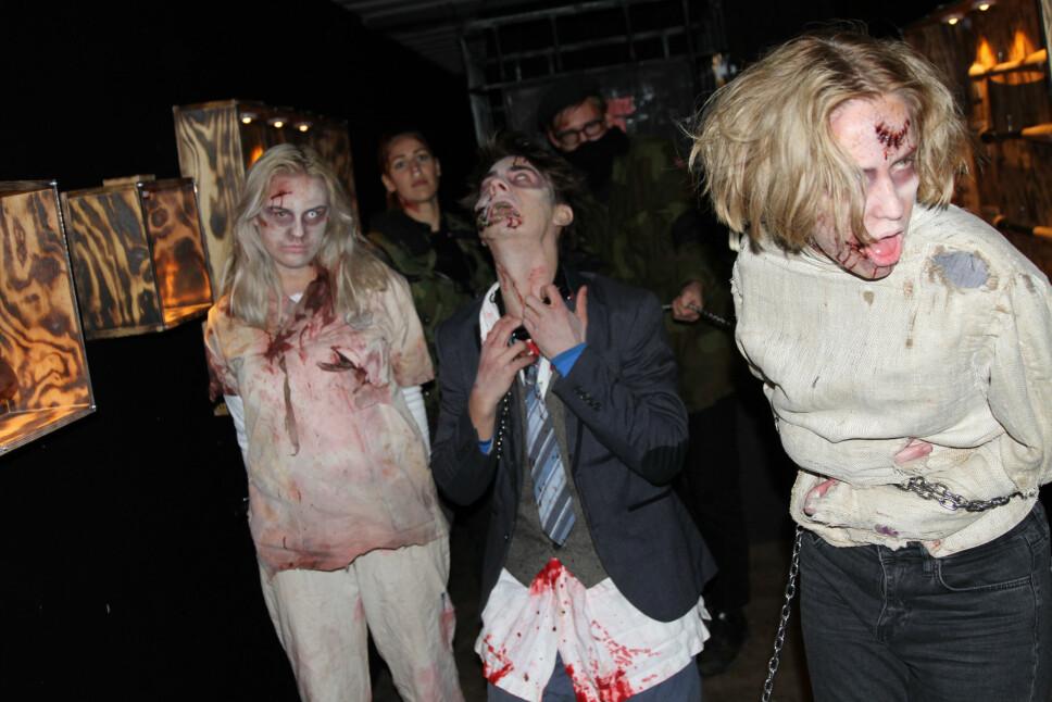 <b>ZOMBIE-ANGREP:</b> «The Walking Dead» byr på mange zombier. Her noen på besøk i Oslo for en snarvisit.