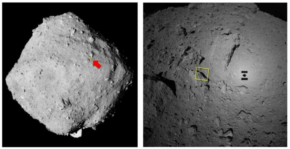 Disse bildene viser hvor på asteroiden bildet over ble tatt.