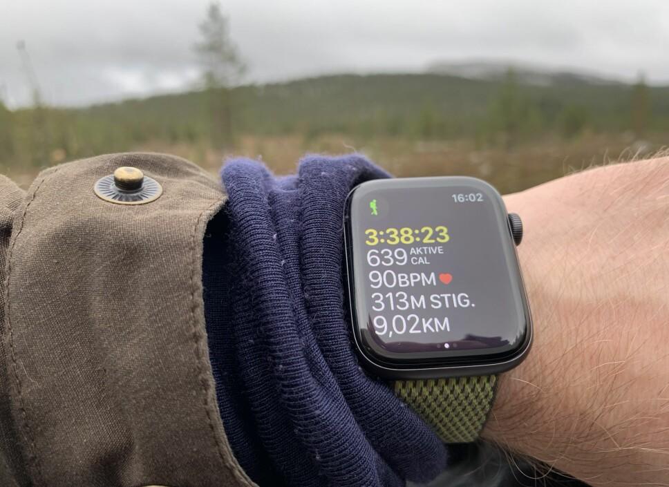 <b>FJELLTUR:</b> Med Watch OS 5 kom muligheten til å registrere en fjelltur i Apples innebygde aktivitetsapp. Med Apple Watch Series 4 er det null problem å se informasjonen på skjermen. En snaut fire timers tur gjør imidlertid sitt innhugg i batteritiden.