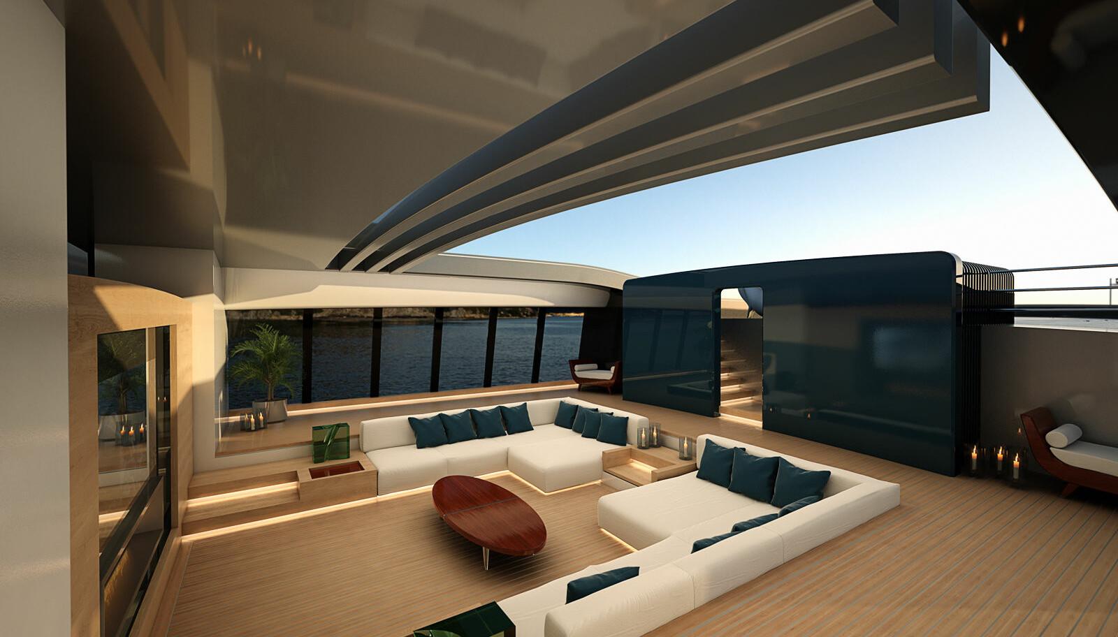 INNE BLIR UTE: Salongen midtskips har en enorm markise som kjøres unna og sidevinduene kan senkes og heves etter behov.