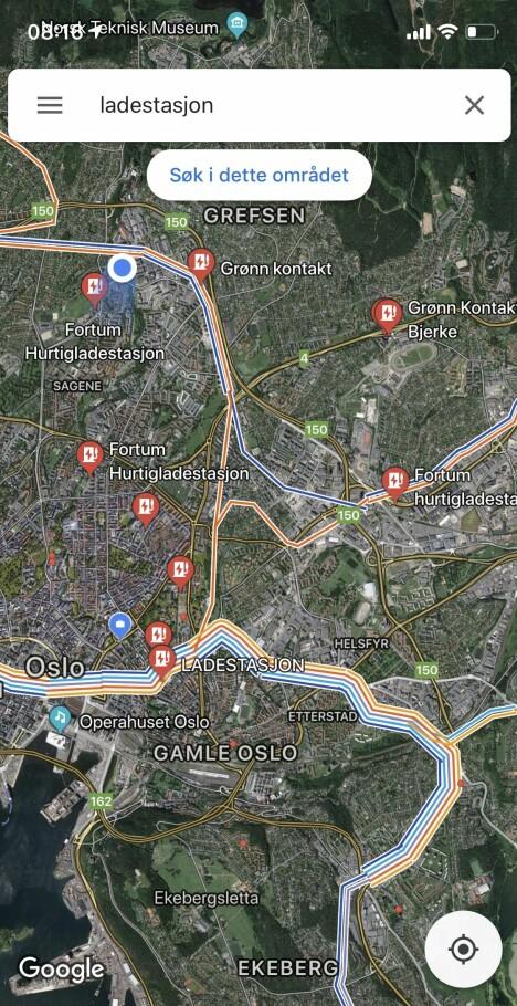 <b>GOOGLE MAPS: </b>Her er oversikten over ladestasjoner Google Maps gir i skrivende stund.