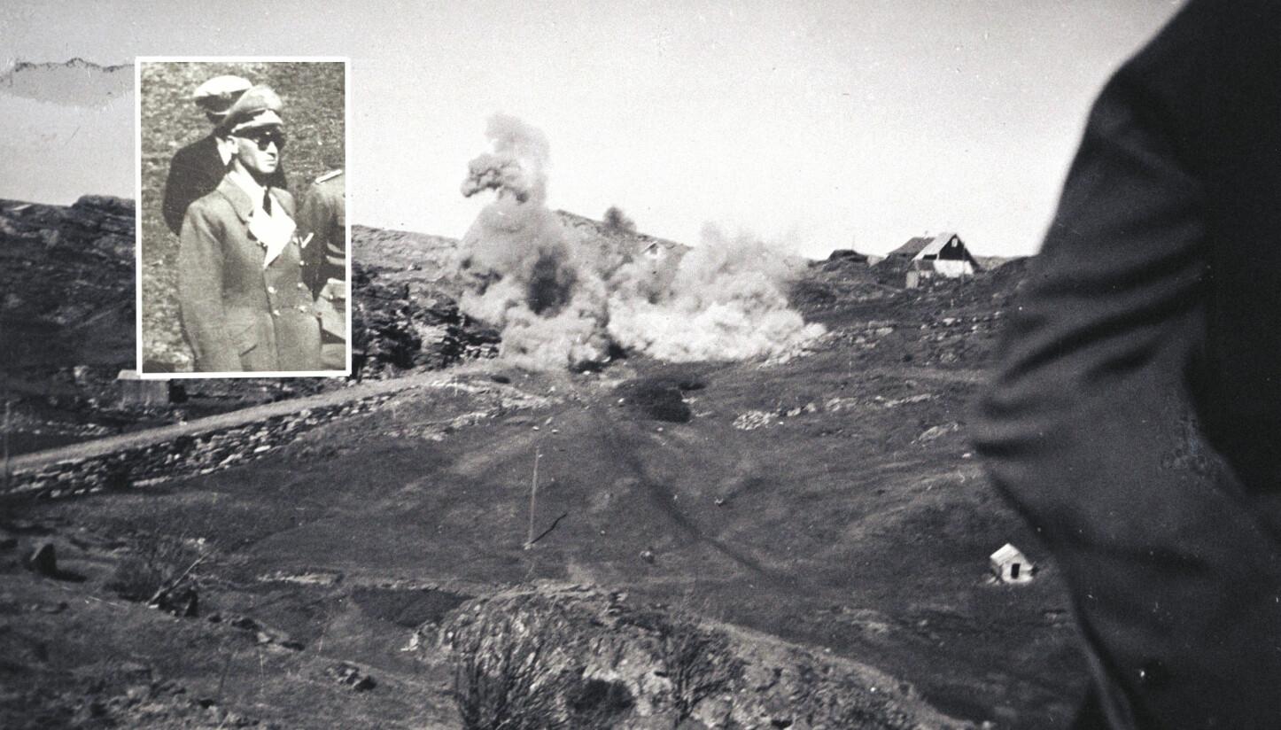 <b>HEVN:</b> Josef Terbovens (innrammet) hevn etter norske motstandsmenn tok livet av to tyske soldater ble brutal for bygda Telavåg. Her et bilde av tyskerne som utfører sprengninger og jevner bygda med jorden.