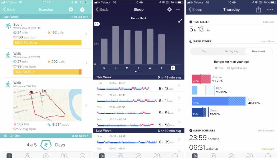 APP: Fitbit har en god app. Skjermbildet til venstre viser forskjellen hvordan Fitbit logger en gå-økt med og uten kobling til GPS (mobil). Med kobling mot mobil, får du med GPS-sporing av gåturen. Til høyre viser søvnloggingen. Her kan du også sammenligne deg med andre brukere i din aldersgruppe.