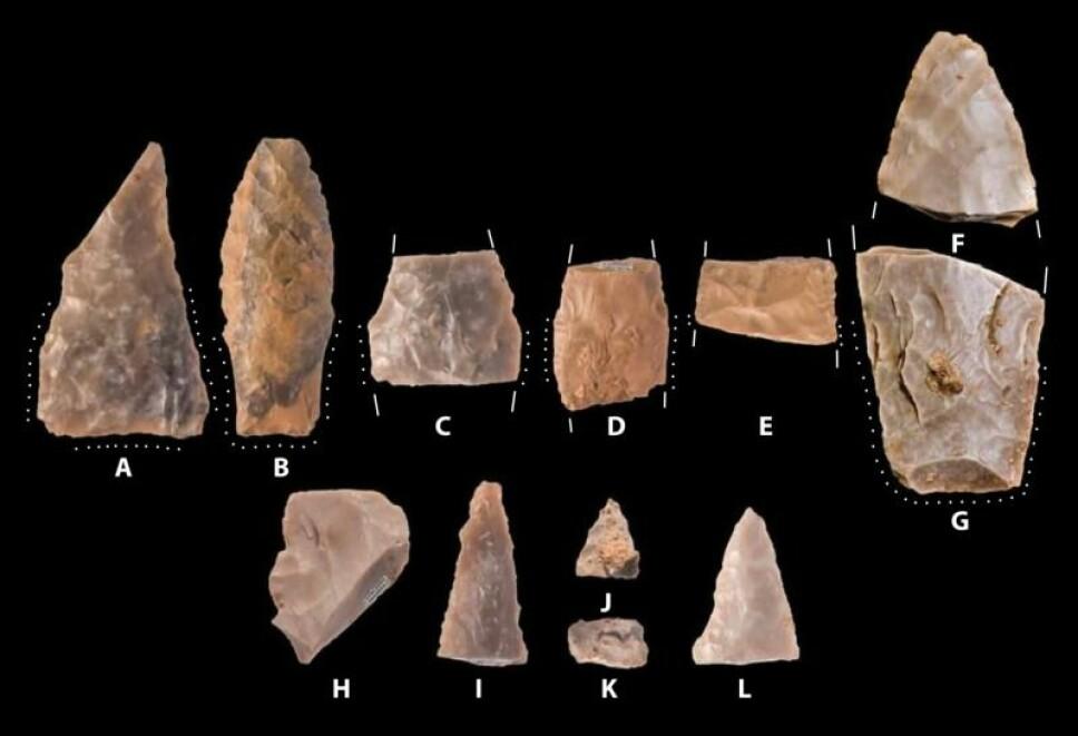 <b>FUNNET:</b> Disse urgamle spydspissene er funnet ved utgravningsfeltet i Texas. Ifølge arkeologer er de eldre enn Cloviskulturen, som er blitt ansett som den første til å bosette seg i Nord-Amerika. Foto: Waters et al., 2018 via Science Advances