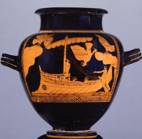 Sirene-vasen viser Odyssevs fastbundet på et gresk handelsskip av en lignende type som nå er funnet utenfor kysten av Romania. Foto: British Museum