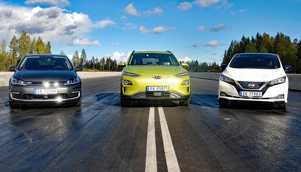 Tre populære elbiler i test, (f.v.) VW e-Golf, Hyundai Kona og Nissan Leaf.