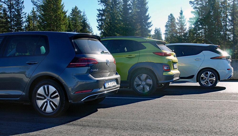 Dette er biler mange nordmenn ønsker seg. Med unntak av Leaf (bortest) må du belage deg å vente en god stund hvis du bestiller nå.