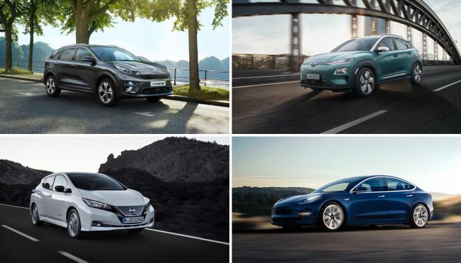 <b>FIRKLØVER:</b> Kia e-Niro, Hyundai Kona Electric og Model 3 er alle seriøse utfordrere til Nissan Leaf. Leafen er den eneste elbilen nordmenn i skrivende stund kan få tak i på relativt kort tid, men fra 2019 begynner konkurrentene å rulle sine produkter ut på norske veier.