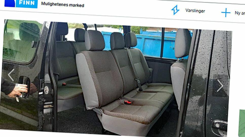 Plassen om bord i Toyota HiAce er mer enn raus. Har er det plass til åtte personer og mye bagasje. Faksimile fra finn.no