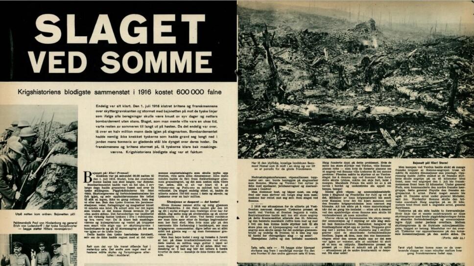 En av Vi Menns artikler om første verdenskrig. Denne er fra 1961.