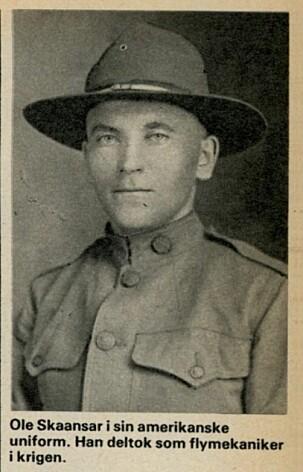Ole Skaansar utvandret til USA, og deltok på amerikansk side.