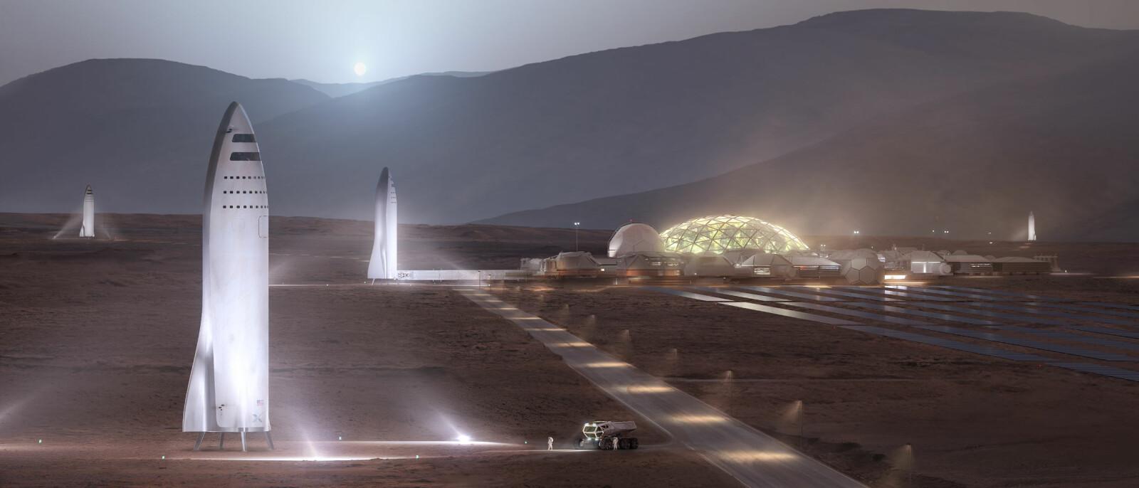<b>MARS-KOLONI:</b> Petranek tror 50.000 mennesker kan komme til å bo på Mars i 2050. Slik forestiller SpaceX seg at en begynnende koloni kan se ut.