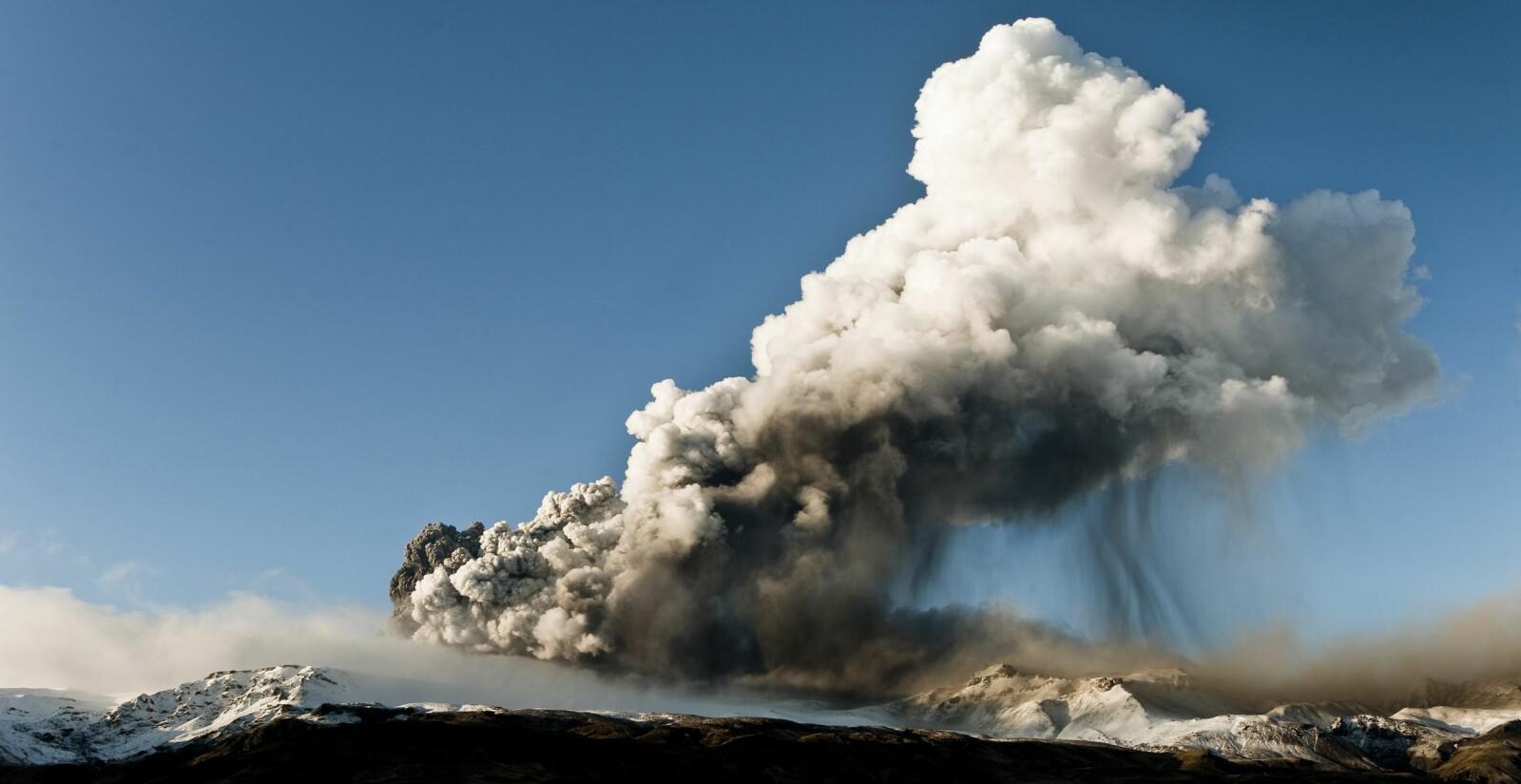 <b>DØDBRINGER: </b>Det var antagelig et vulkanutbrudd på Island som forårsaken den 18 måneder lange «vulkansk vinteren» som startet i år 536. Bildet viser vulkanen Eyjafjallajökull.