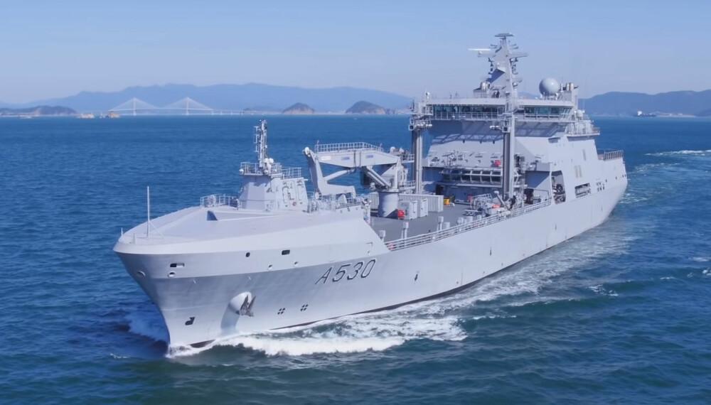 STØRST: 183 meter lange KNM Maud er Norges største krigsskip.