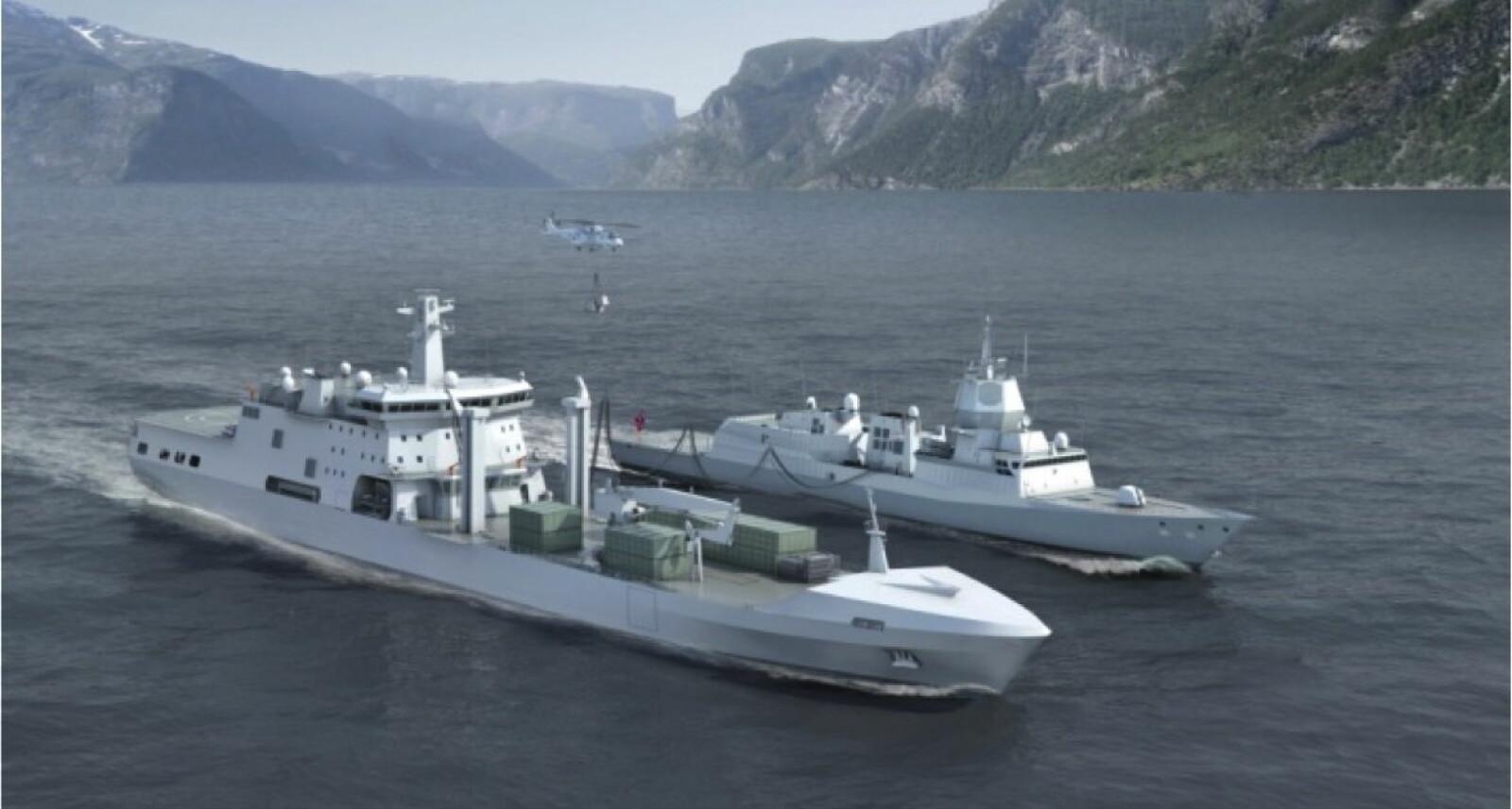 STØRST: 183 meter lange KNM Maud ved siden av en 134 meter lang fregatt som KNM Helge Ingstad. I Norge inngår fregattene i Fridtjof Nansen-klassen.
