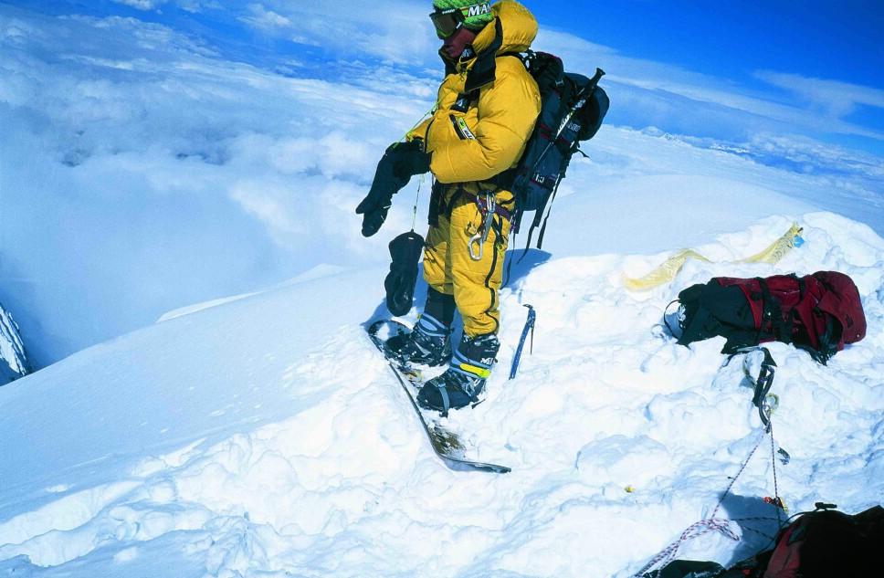 <b>HORNBEIN:</b> Marco Siffredi gjør seg klar til å kjøre ned fra toppen via Hornbein-korridoren.