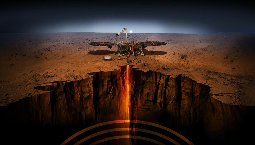 <b>INSIGHT: </b>Med denne skissen illustrerer NASA hvordan romsonden InSight skal drille seg fem meter ned i bakken på Mars.