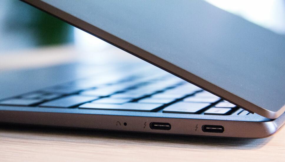 """<b>USB-C:</b> Du får kun tre USB-C-porter på Lenovo Yoga S730, det gjør at du må ha overganger til HDMI og """"vanlige"""" USB-kabler."""