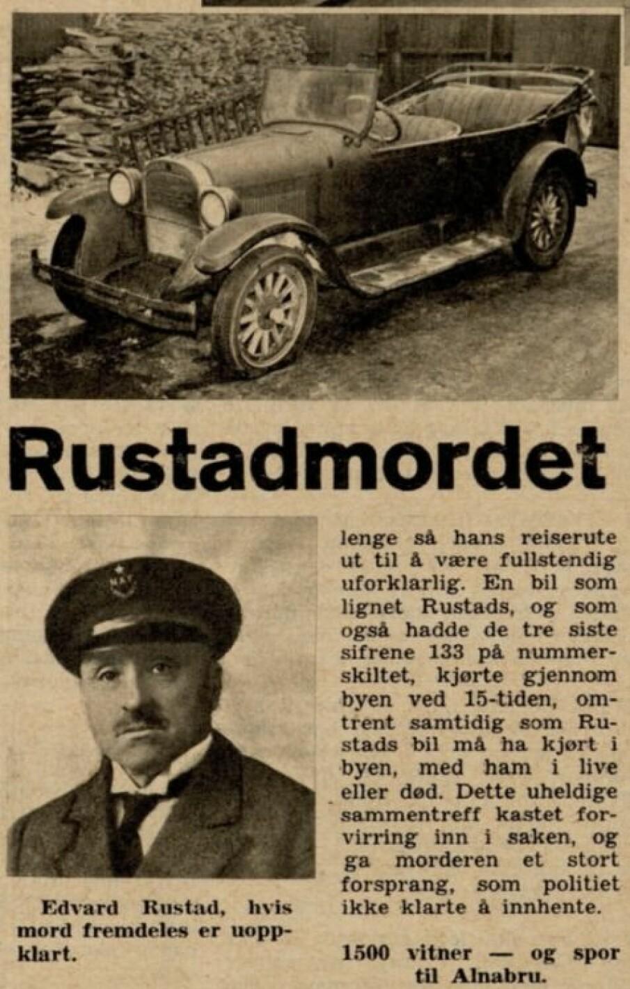 <b>FØRSTE ARTIKKEL I VI MENN: </b>Vi Menns første artikkel om drapet, med et bilde av Rustads Dodge. Den var på vei til opphugging, etter å ha blitt oppbevart av politiet i 18 år.